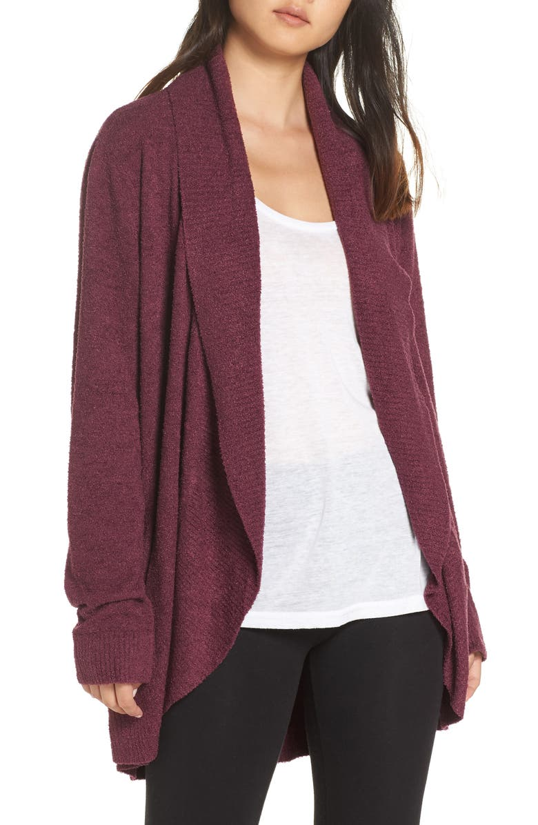 BAREFOOT DREAMS<SUP>®</SUP> CozyChic<sup>™</sup> Lite Circle Cardigan, Main, color, BURGUNDY
