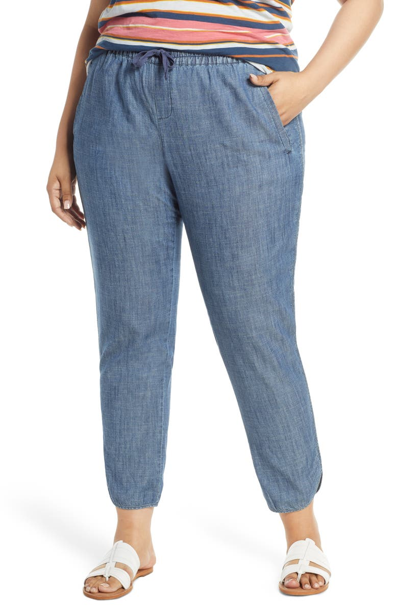 CASLON<SUP>®</SUP> Tulip Hem Pants, Main, color, CHAMBRAY