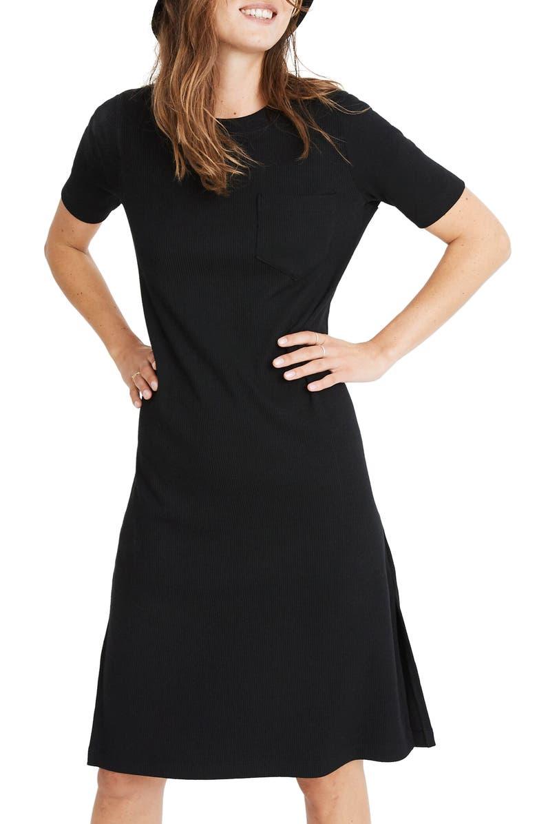 MADEWELL Rib Pocket T-Shirt Dress, Main, color, TRUE BLACK
