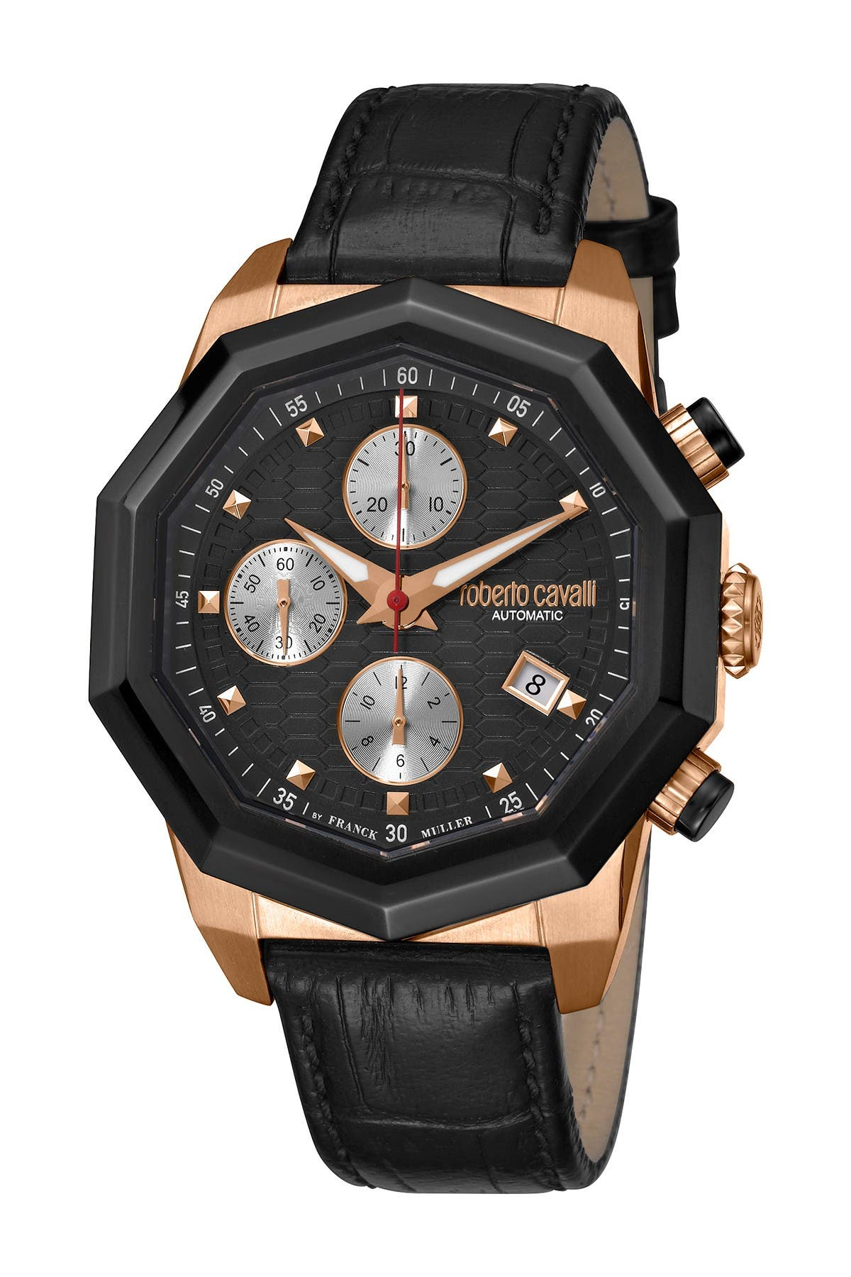 Image of ROBERTO CAVALLI BY FRANCK MULLER Men's Swiss Automatic Croc Embossed Leather Strap Watch, 43mm