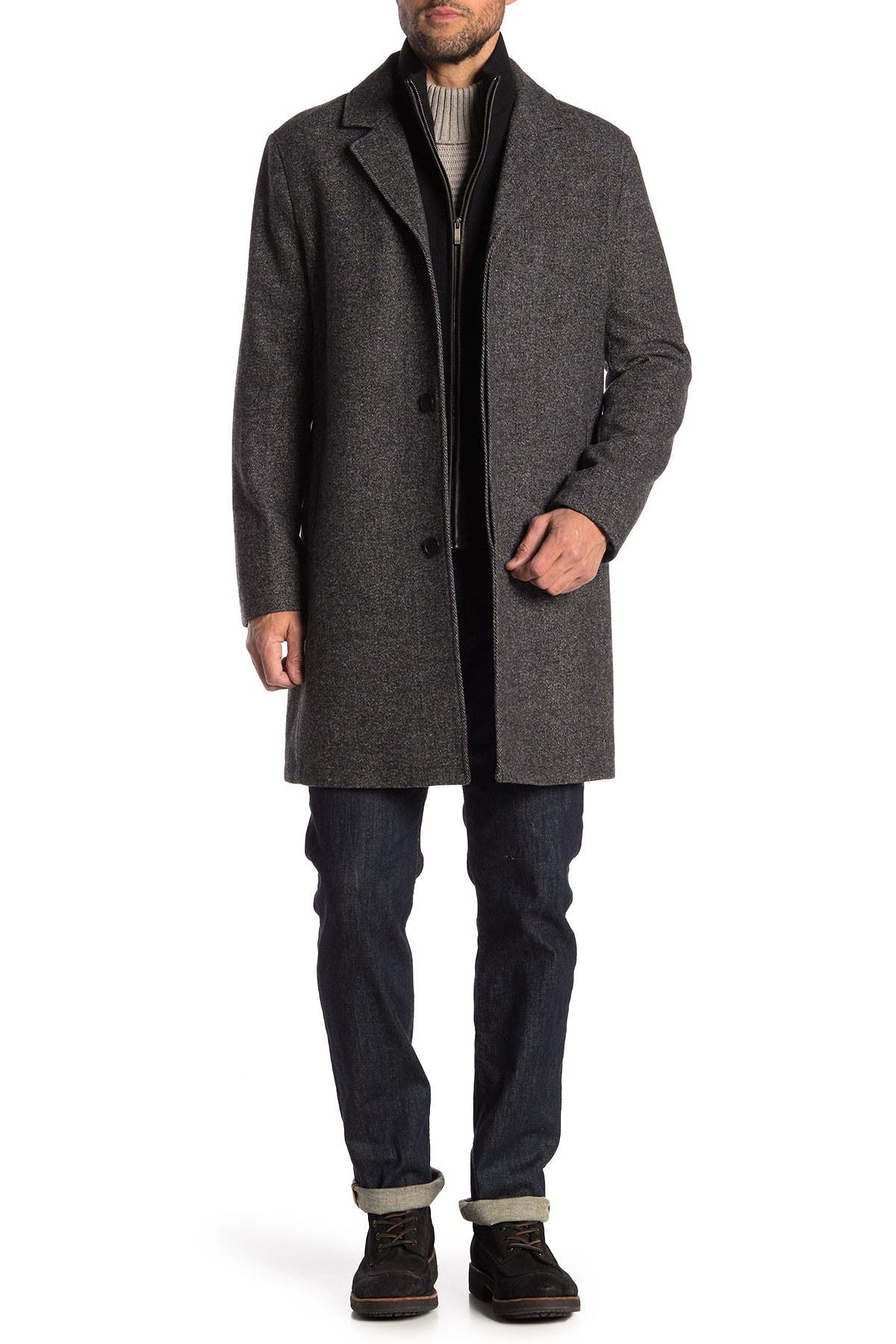 Image of Cole Haan Wool Blend Leather Trim Bib Insert Coat