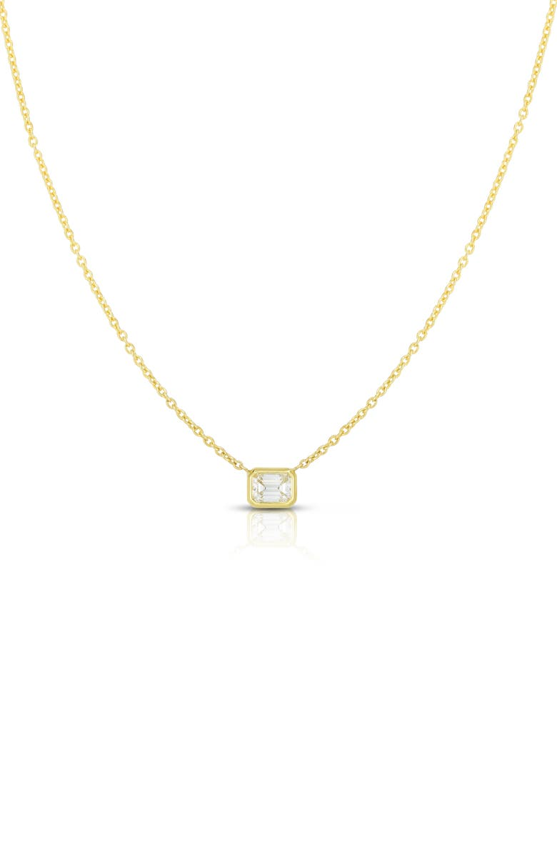 ROBERTO COIN Emerald Cut Diamond Pendant Necklace, Main, color, YELLOW GOLD