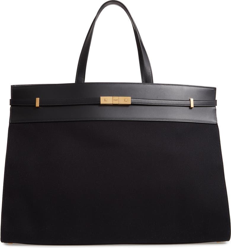 SAINT LAURENT Medium Manhattan Leather & Canvas Satchel, Main, color, NOIR