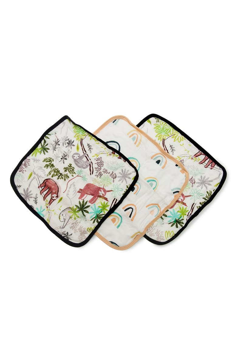 LOULOU LOLLIPOP Deluxe Pack of 3 Sloth Washcloths, Main, color, SLOTH