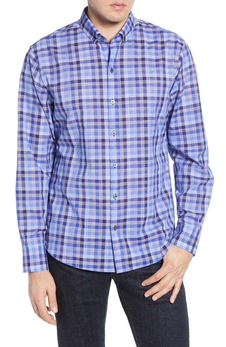 ZACHARY PRELL Curtis Regular Fit Plaid Button-Down Sport Shirt, Main, color, BLUE