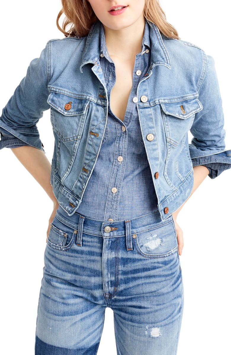 J.CREW Crop Denim Jacket, Main, color, 460