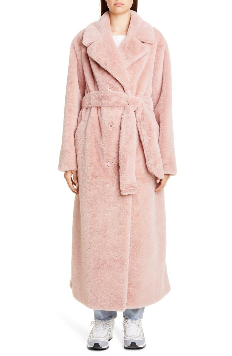 STAND STUDIO Faustine Long Faux Fur Coat, Main, color, PALE PINK EXCLUSIVE