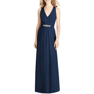 Jenny Packham Jewel Belt Chiffon Gown, Blue