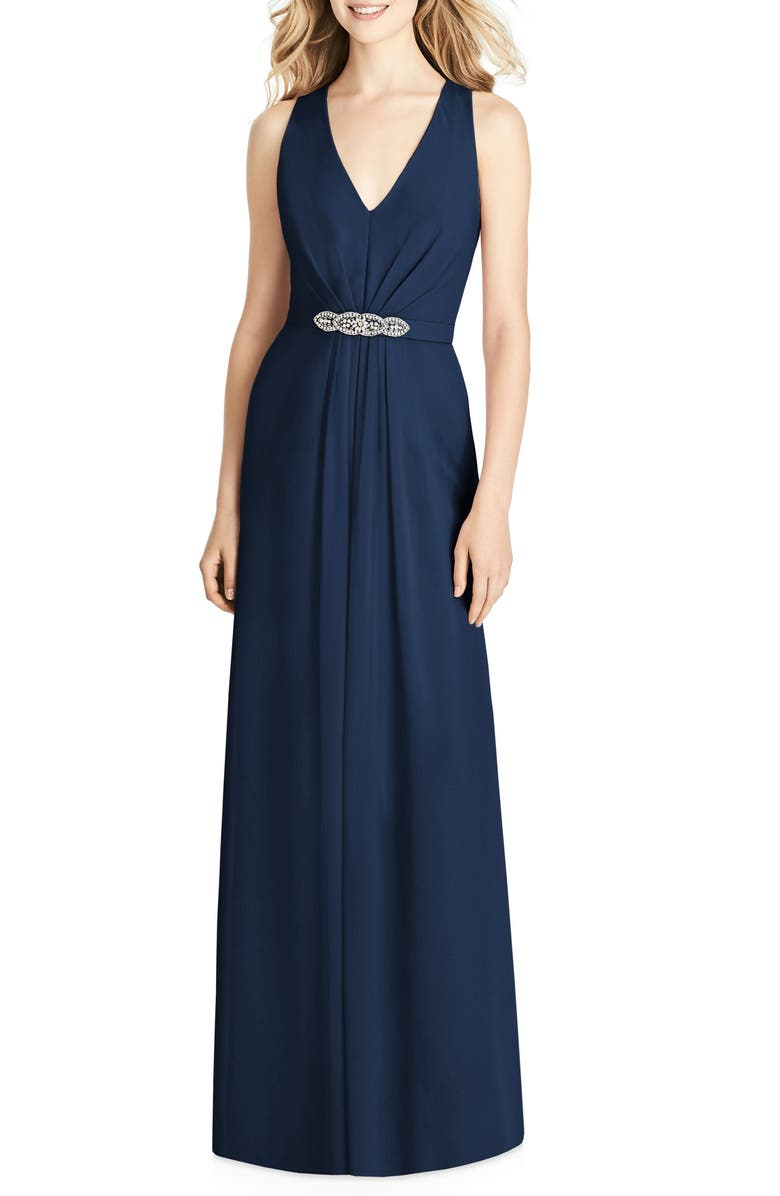 JENNY PACKHAM Jewel Belt Chiffon Gown, Main, color, MIDNIGHT