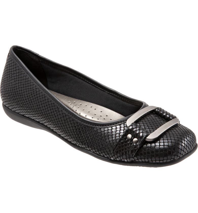 TROTTERS 'Sizzle Signature' Flat, Main, color, BLACK EMBOSSED FABRIC