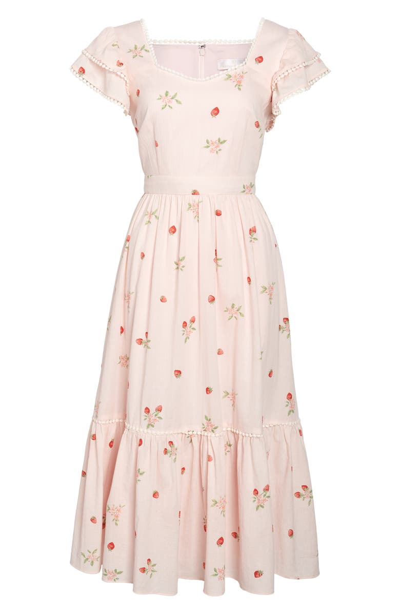 RACHEL PARCELL Print Ruffle Dress, Main, color, PINK ROSEWATER STRAWBERRY