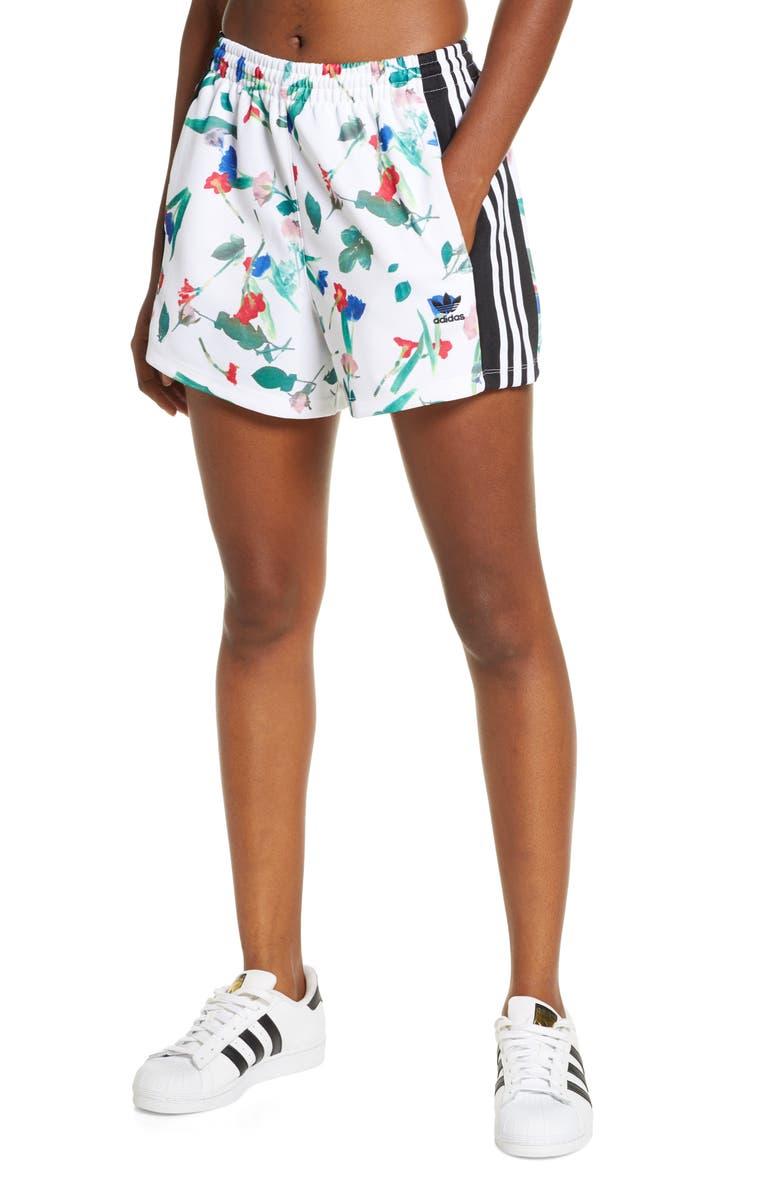 ADIDAS ORIGINALS Floral Print Shorts, Main, color, 100