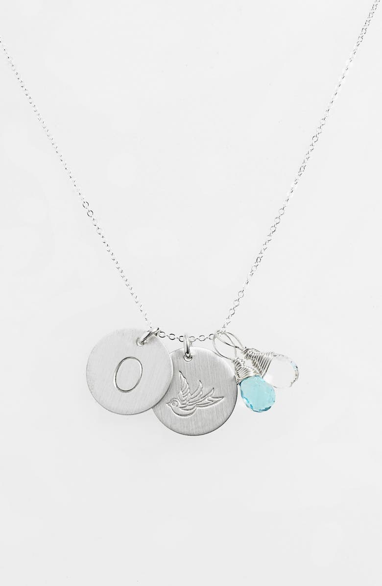 NASHELLE Ocean Blue & Crystal Swallow Sterling Silver Initial Disc Necklace, Main, color, OCEAN BLUE AND CRYSTAL O