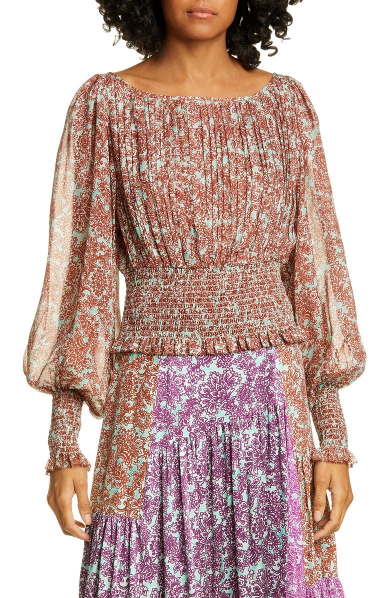 AMUR Zora Floral Smock Waist Pleated Silk Blouse, Main, color, MINT/ COPPER