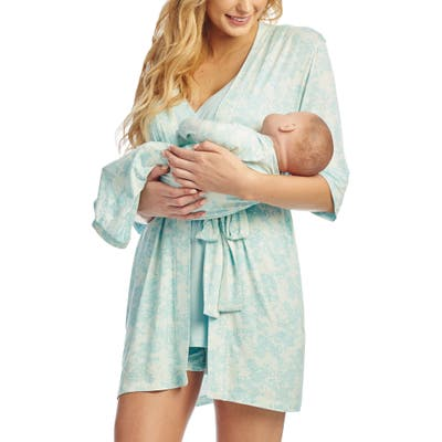 Everly Grey Adalia 5-Piece Maternity/nursing Pajama Set, Blue