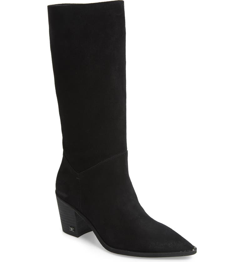 SAM EDELMAN Leahla Slouchy Boot, Main, color, BLACK SUEDE