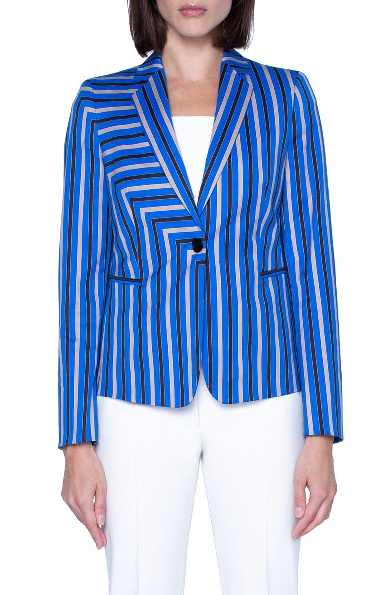 AKRIS PUNTO Square Stripe Print Stretch Cotton Blazer, Main, color, LAKE/ DESERT/ BLACK