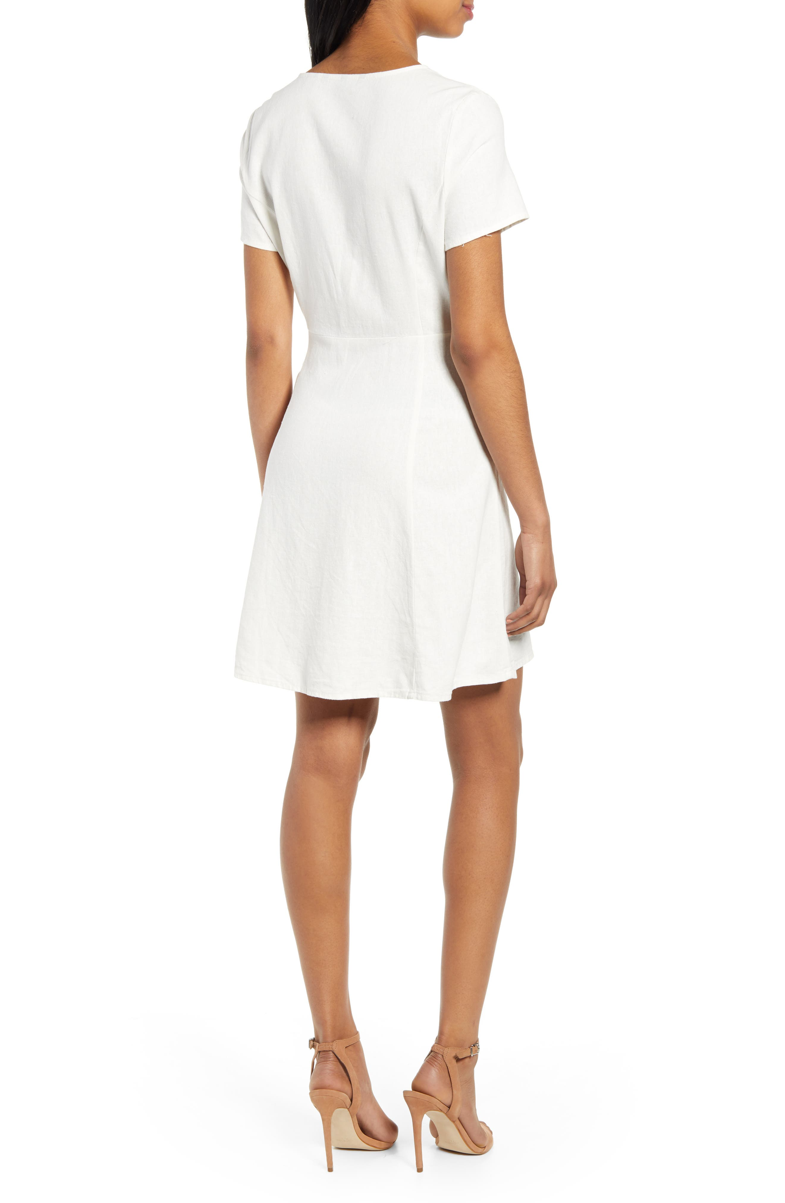 ,                             Anna Button Through Fit & Flare Dress,                             Alternate thumbnail 2, color,                             SNOW WHITE