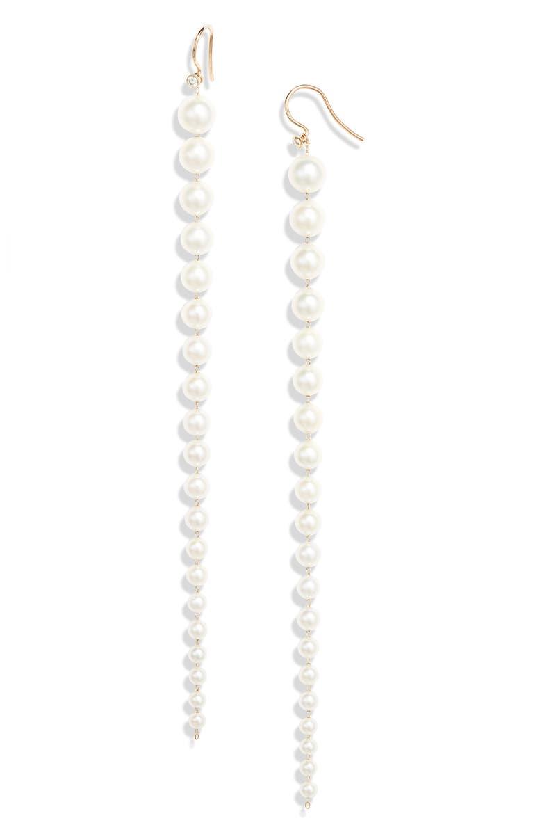 MIZUKI Akoya Pearl & Diamond Earrings, Main, color, YELLOW GOLD/ PEARL