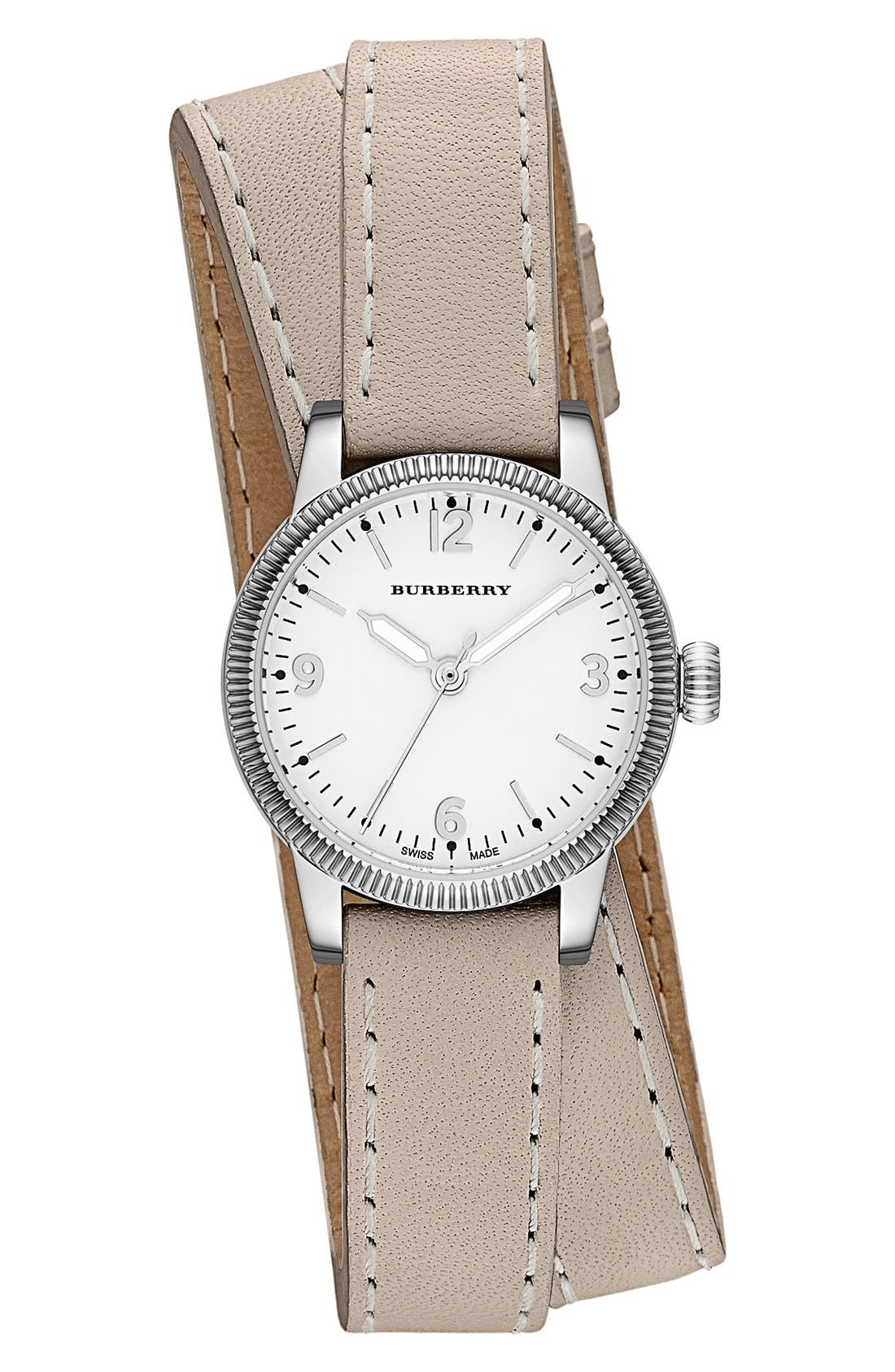 ,                             'Utilitarian' Round Leather Wrap Watch, 30mm,                             Main thumbnail 17, color,                             250