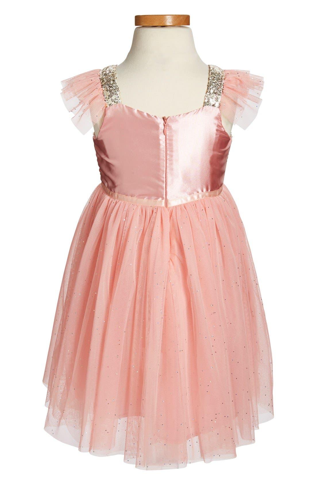 ,                             Sequin Bodice Tulle Dress,                             Alternate thumbnail 2, color,                             PEACH