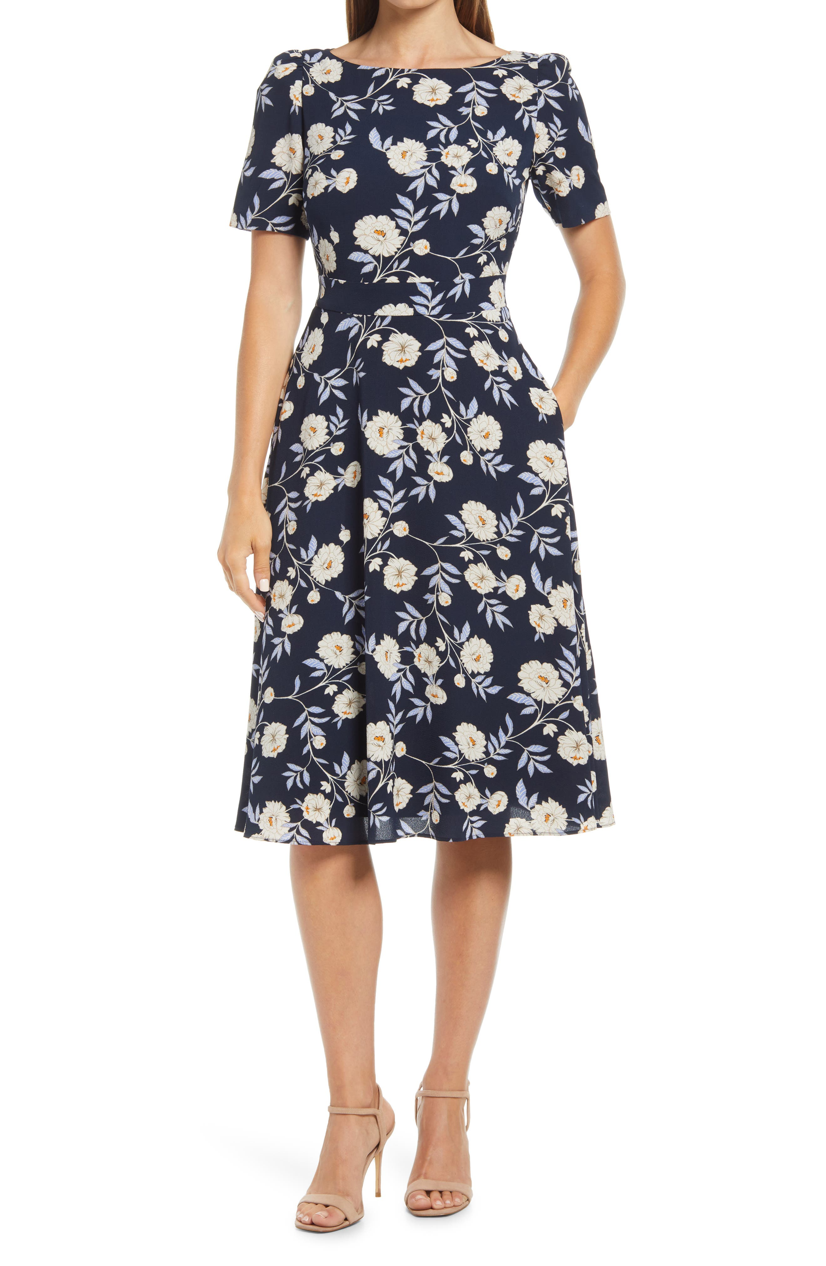 Floral Puff Sleeve Fit & Flare Dress