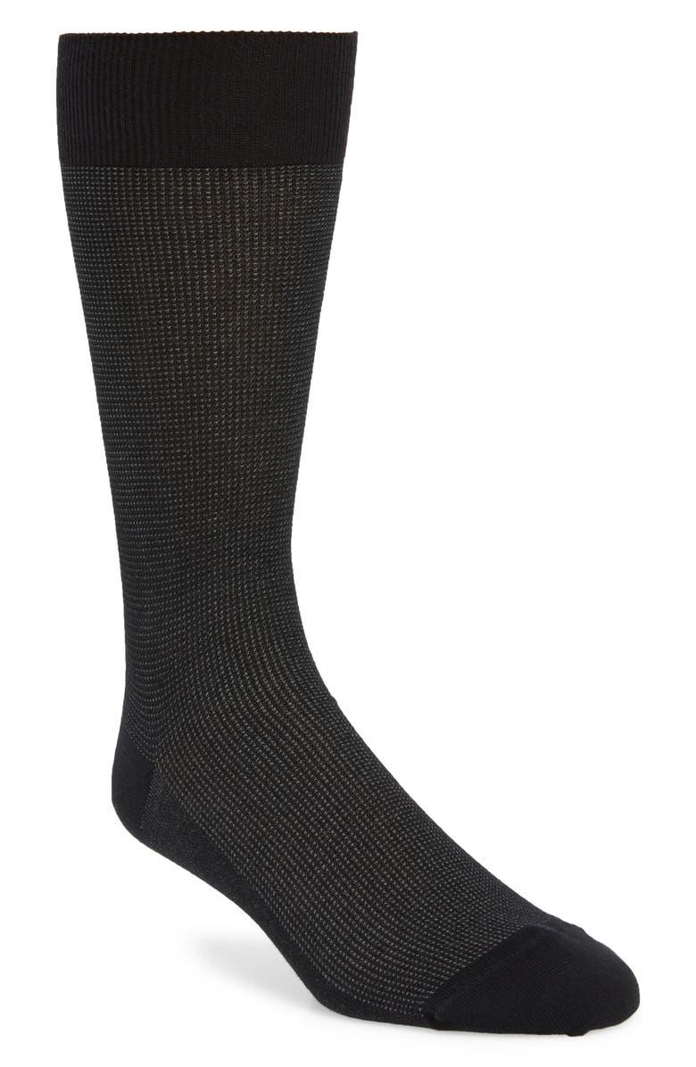 NORDSTROM SIGNATURE Pima Textured Socks, Main, color, BLACK/ GREY