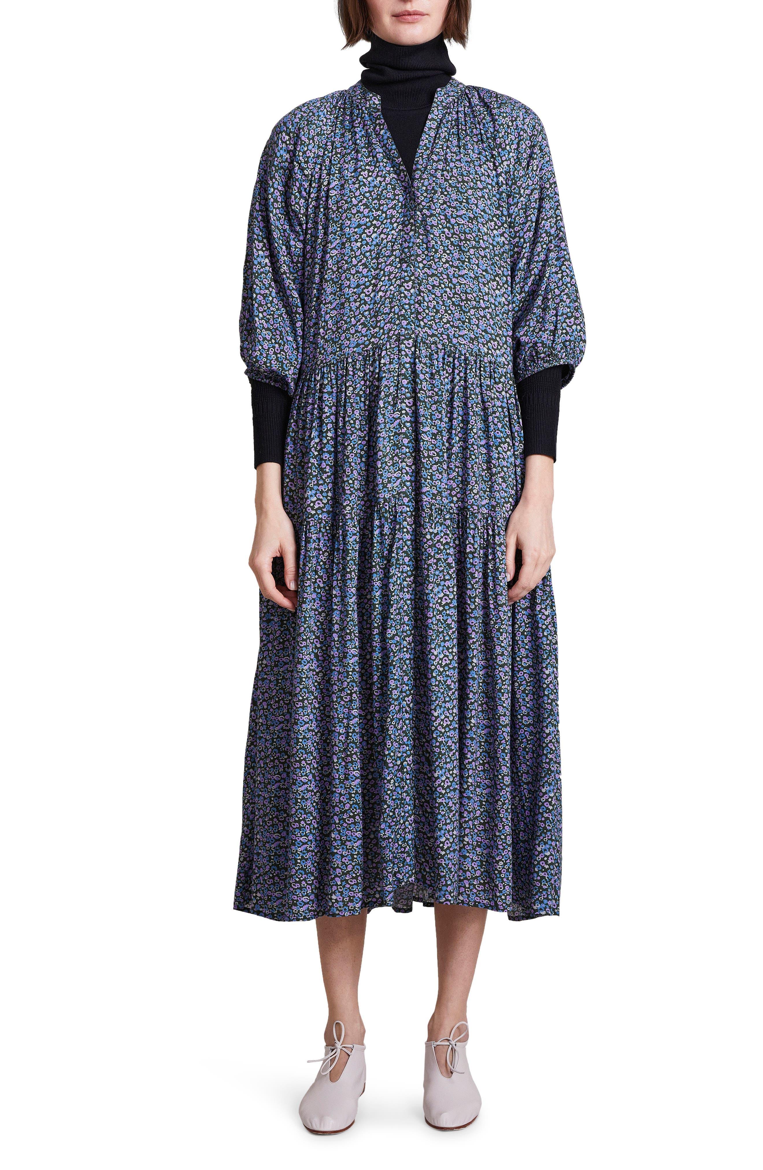 Mitte Floral Print Long Sleeve Cotton Dress