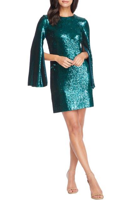 Image of Dress the Population Liza Cape Sleeve Sequin Mini Dress