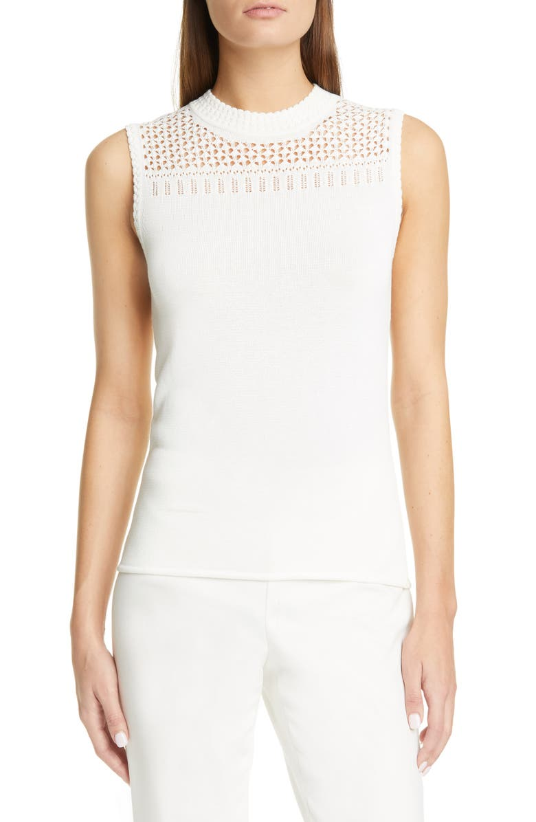 ST. JOHN COLLECTION Mock Neck Pointelle Sleeveless Sweater, Main, color, 100
