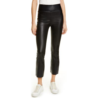 Sprwmn Crop Flare Leather Pants, Black