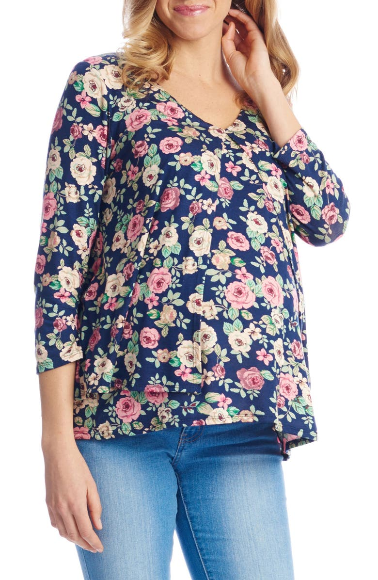 EVERLY GREY Isabella Maternity/Nursing Top, Main, color, NAVY FLORAL