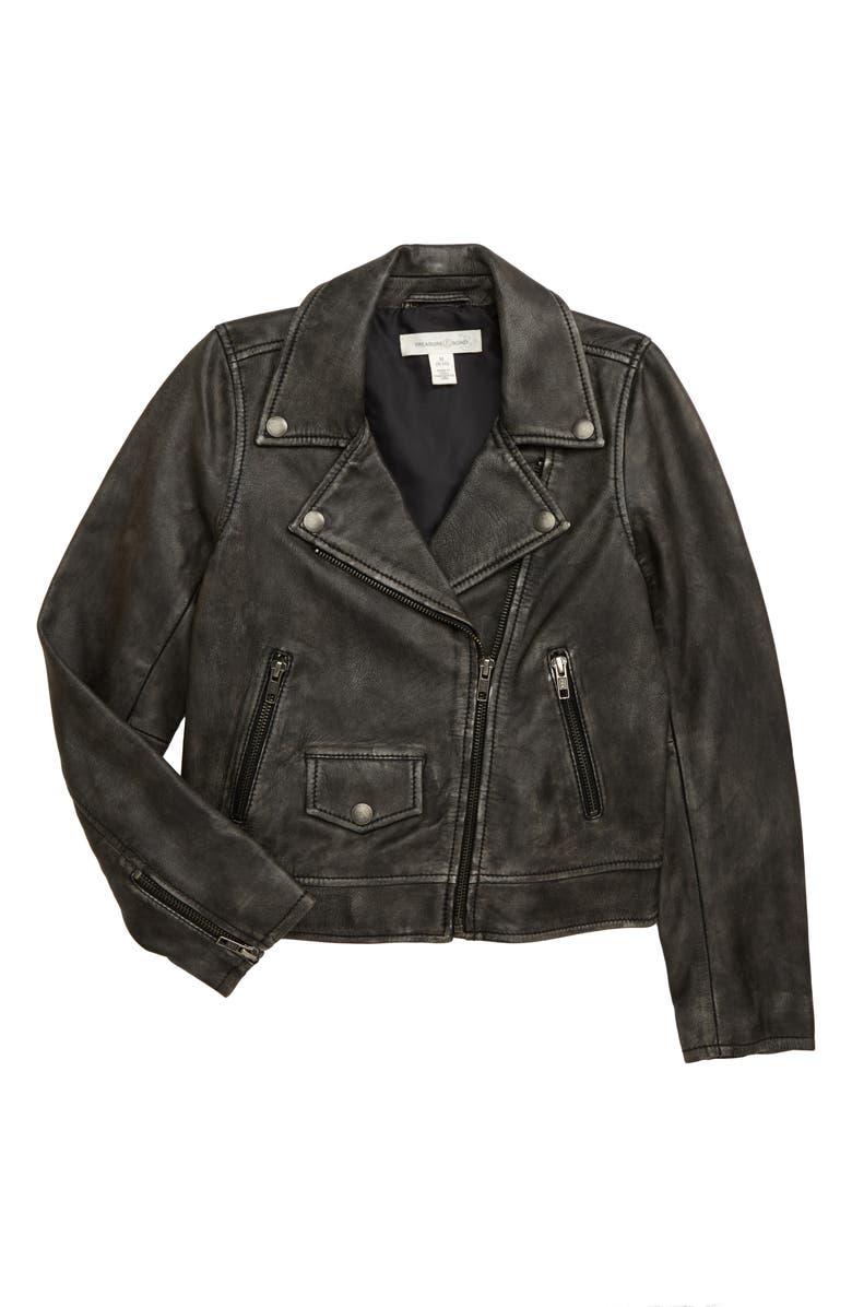 TREASURE & BOND Washed Leather Moto Jacket, Main, color, 001