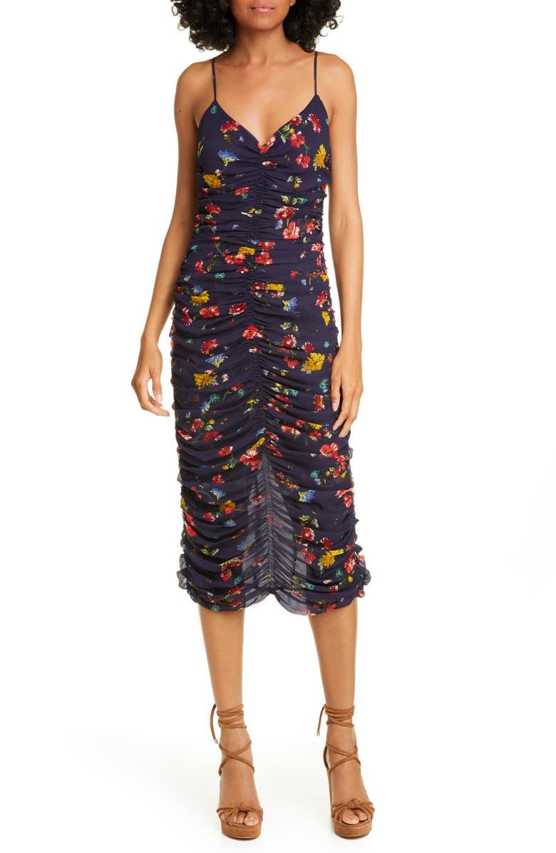 NICHOLAS Ruched Silk Slipdress, Main, color, 400