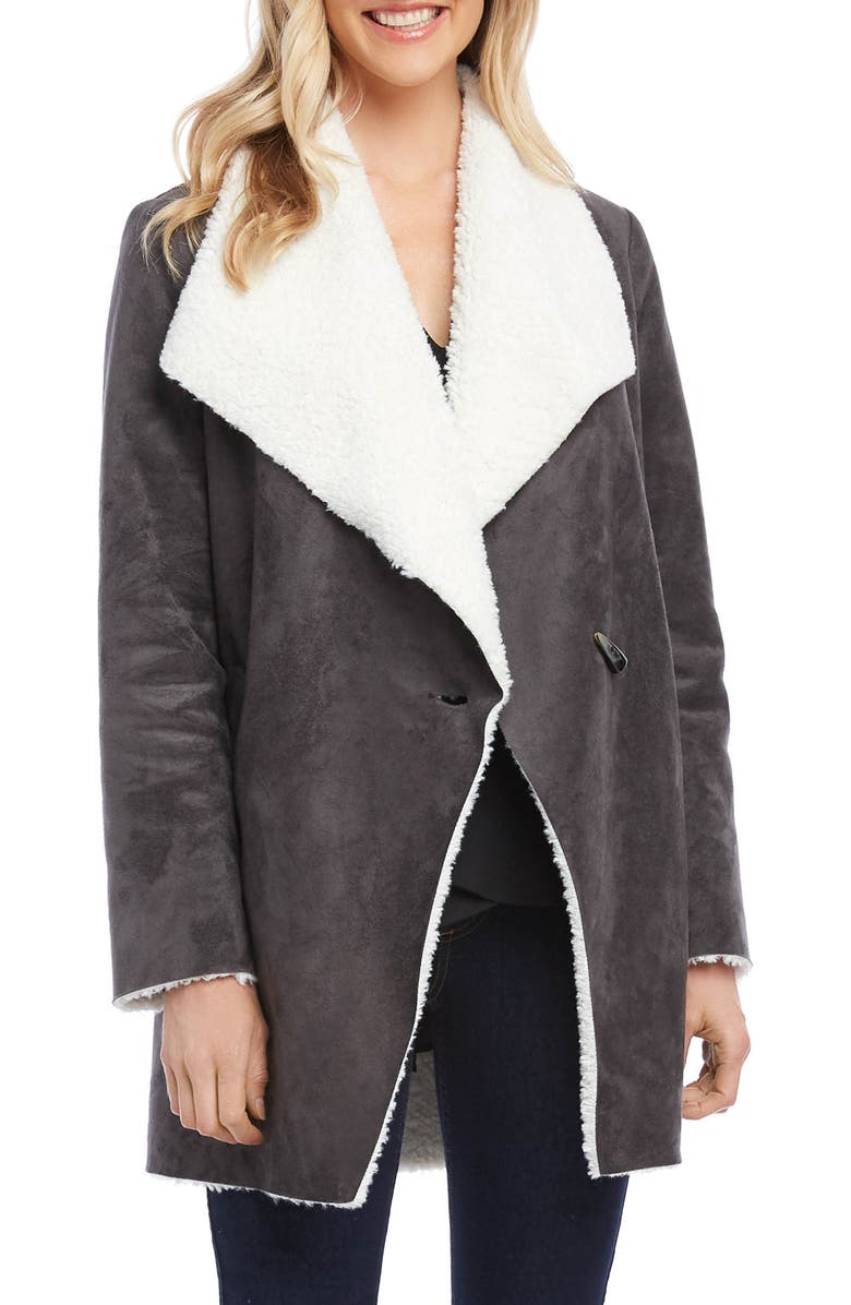KAREN KANE Faux Shearling Coat, Main, color, GREY