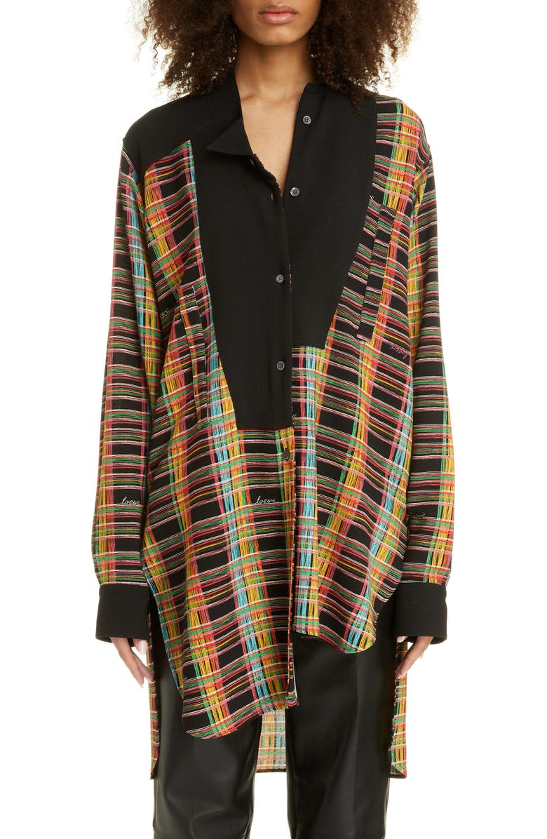 LOEWE Asymmetrical Check Wool Shirt, Main, color, BLACK/ MULTICOLOR