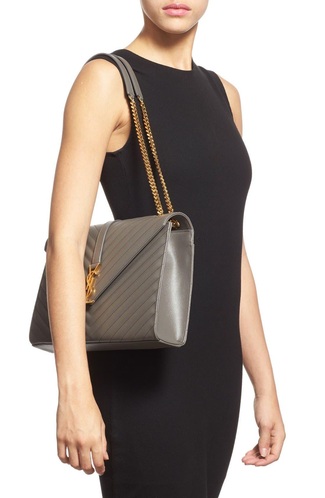 ,                             'Large Monogram' Grained Leather Shoulder Bag,                             Alternate thumbnail 14, color,                             020