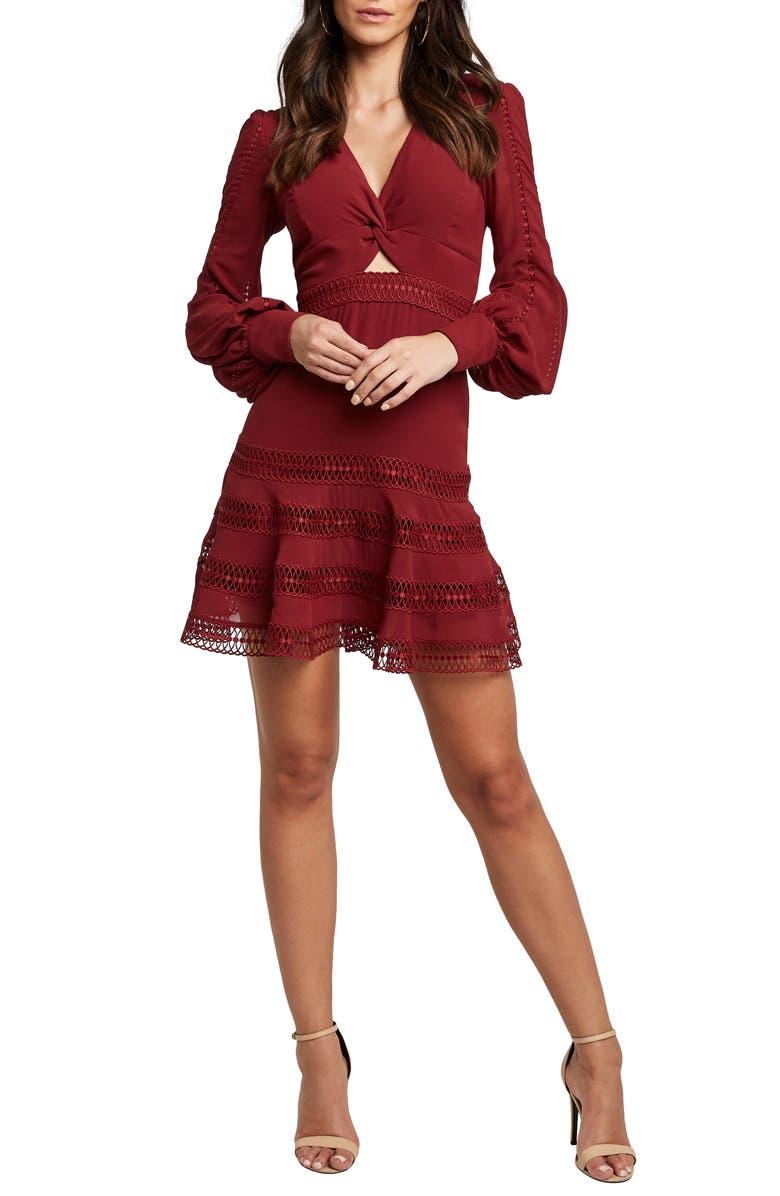 BARDOT Luella Lace Trim Long sleeve Fit & Flare Dress, Main, color, 930