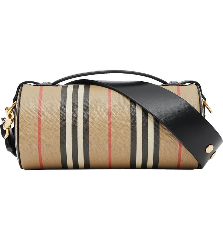 BURBERRY Check & Leather Barrel Bag, Main, color, 250