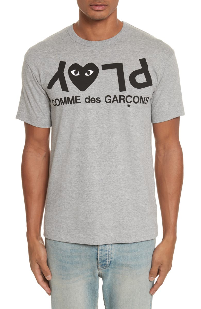 COMME DES GARÇONS PLAY Upside Down Graphic Tee, Main, color, GREY