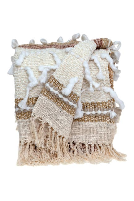 "Image of Parkland Collection Maya Eclectic Beige 52"" x 67"" Woven Handloom Throw"