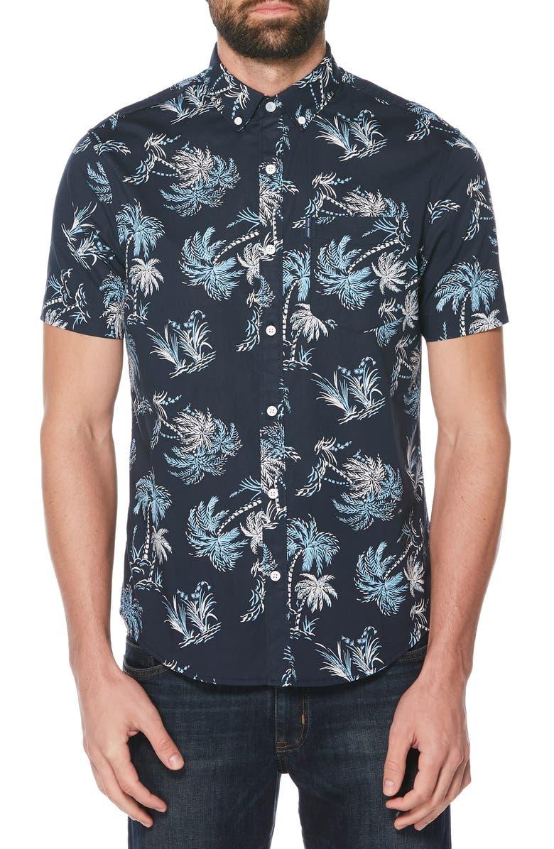 ORIGINAL PENGUIN Tropical Tree Woven Shirt, Main, color, SARGASSO SEA