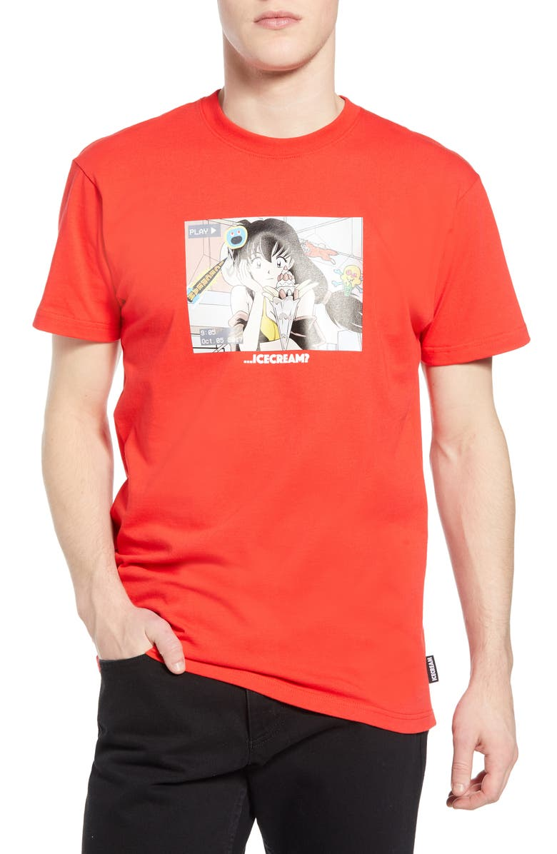ICECREAM Again Graphic Tee, Main, color, RED