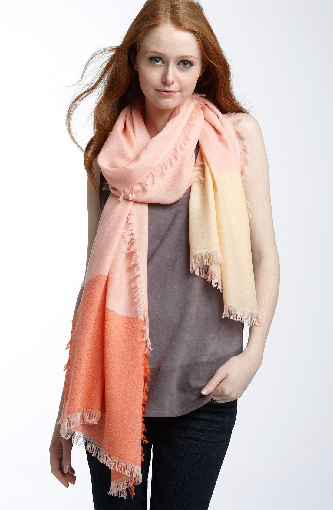 ,                             'Eyelash' Colorblock Cashmere Wrap,                             Main thumbnail 116, color,                             954