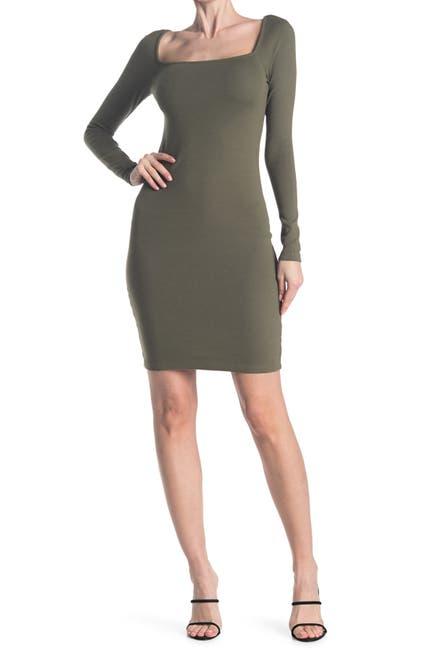 Image of Stateside 1X1 Rib Square Neck Dress