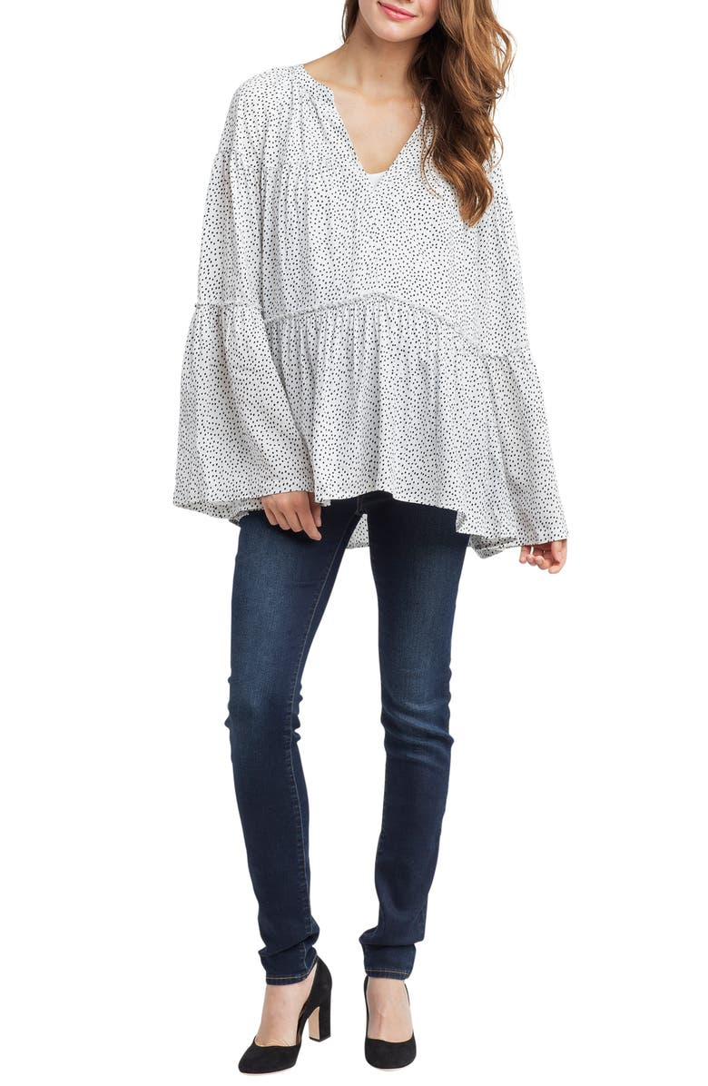 NOM MATERNITY Josephine Bell Sleeve Maternity Top, Main, color, WHITE DOT