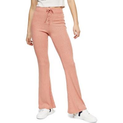 Topshop Lace-Up Flare Leg Pants, US - Coral
