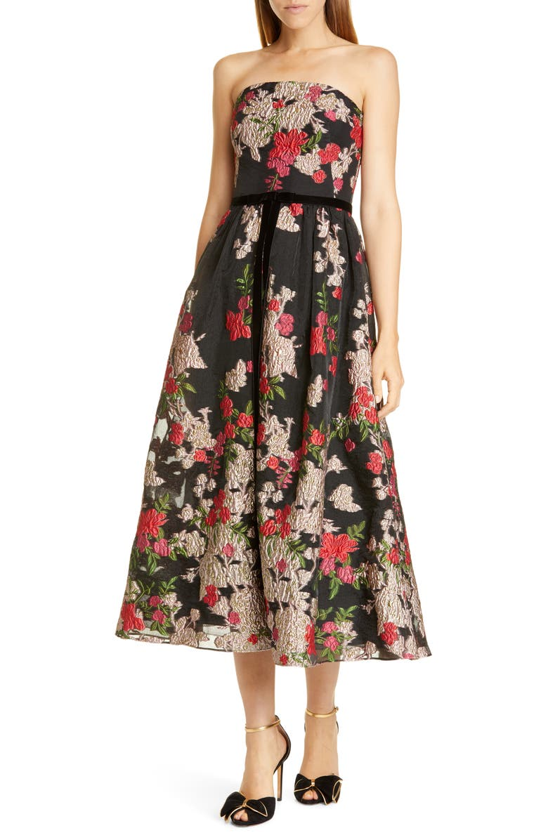 MARCHESA NOTTE Floral Embroidered Strapless Midi Dress, Main, color, BLACK