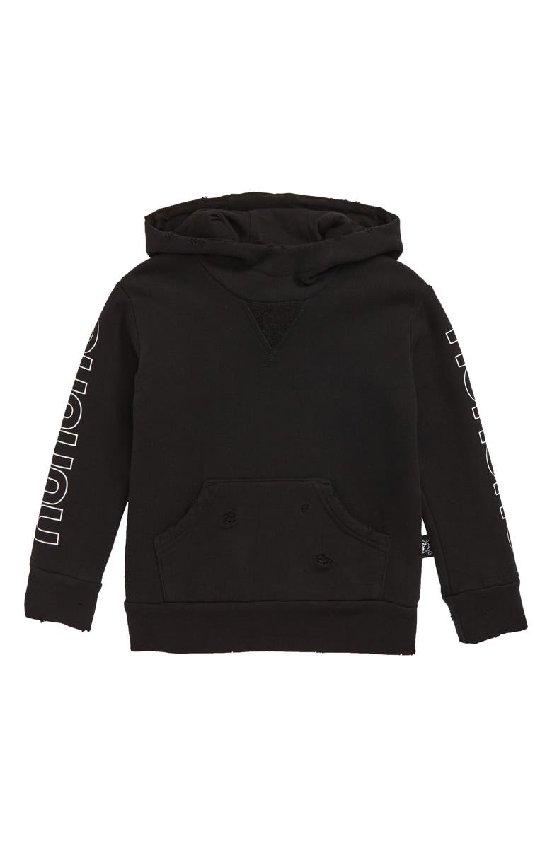 NUNUNU Fluffy Torn Hoodie, Main, color, BLACK