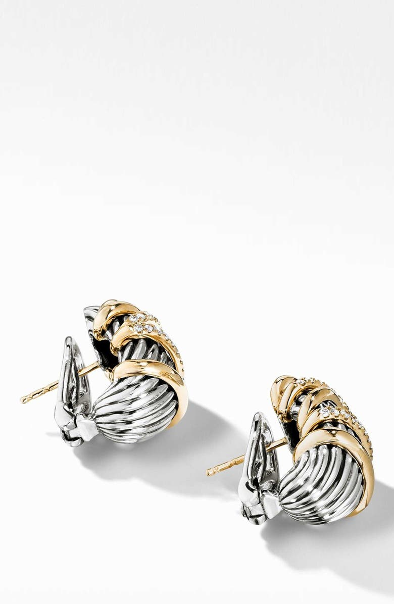 DAVID YURMAN Helena Shrimp Earrings with 18K Gold and Diamonds, Main, color, GOLD/ SILVER/ DIAMOND